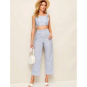 NWOT Shein Blue Stripe Two Piece Pants & Top Set